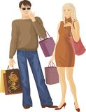 Shopping boy and girl Royalty Free Stock Photo