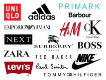 Shopping Brands icons. A selection of the world`s most leading retail and shopping brands and icons. which include: Adidas, Barbour, Burberry of London, Calvin royalty free illustration