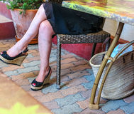 Shopping break in a sidewalk cafe Royalty Free Stock Images