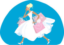 Shopping bride. Bride do her shopping before wedding Vector Illustration