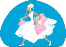Shopping bride. Bride do her shopping before wedding Stock Photo