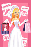 Shopping bride. A vector illustration of a bride carrying shopping bags Royalty Free Stock Images