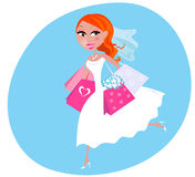 Shopping bride illustration Stock Images