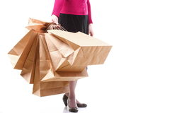 Shopping brown gift bags background Royalty Free Stock Image