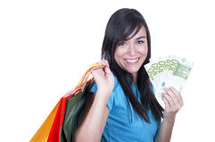 Shopping brunette girl Royalty Free Stock Photography