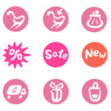 Shopping and business icon set Royalty Free Stock Photography