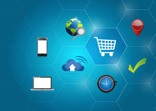 Shopping business icons diagram illustration Stock Photos