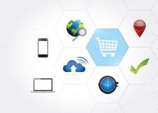 shopping business icons diagram illustration Stock Image
