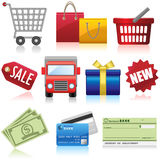 Shopping and Business Icons. Set of shopping, e-commerce and business icons Royalty Free Stock Image