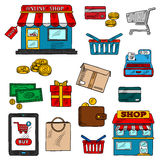 Shopping, business and retail color icons Royalty Free Stock Photos