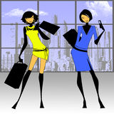 Shopping and business women. Illustration showing two women in yellow and blue Stock Photography