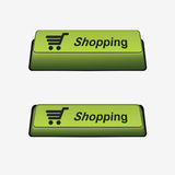 Shopping button. And pressed button. Button on/off. Vector illustration. Element for design stock illustration