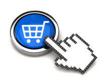 Shopping button and hand cursor Stock Photos