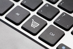 Shopping button key. On laptop keyboard Royalty Free Stock Images