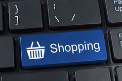 Shopping button keypad with basket icon. Stock Photo