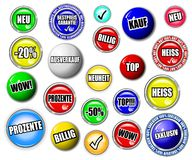 Shopping button, symbol set, GERMAN language Stock Photo