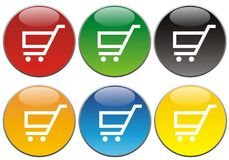 Shopping Buttons or Icons. Shiny shopping icons or buttons on a white background Stock Image