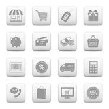 Shopping buttons for online store. Shopping icons on web buttons isolated on white background Royalty Free Stock Photos
