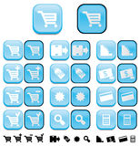 Shopping buttons with pushed e Stock Photo