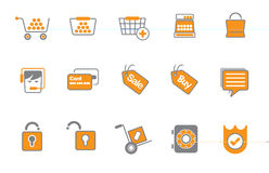 Shopping or buying icon set. A variety of orange and gray icons in a set or collection related to selling or buying or retailing