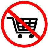 Shopping car, cannot pass, shopping not allowed circle prohibited warning road sign on white background. Stock Photography