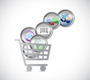 Shopping car and e commerce buttons. illustration Royalty Free Stock Photos