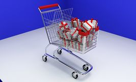 Shopping Car and gift boxes, 3d. Render Stock Illustration