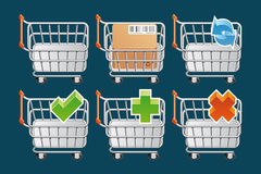 Shopping car icons. Set of Shopping cart icons Stock Photography