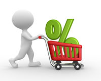 Shopping car and percent sign. 3d people - man, person with a shopping car and percent sign Royalty Free Stock Photography