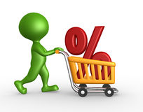 Shopping car and percent sign. 3d people - man, person with a shopping car and percent sign Stock Photos