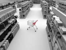 Shopping car in store aisle. A three dimensional gray tone illustration of a single shopping cart in the middle of a store aisle Stock Image