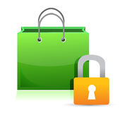 Shopping card and lock Royalty Free Stock Image