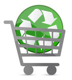 Shopping card and recycle sign Royalty Free Stock Photography
