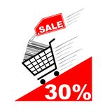 Shopping card with sale label and pecentual sale Royalty Free Stock Photos