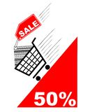 Shopping card with sale label and pecentual sale. Vector Stock Image