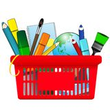 Shopping card with school supplies Royalty Free Stock Images