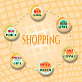 Shopping card with set of summer labels with text Stock Photography