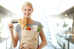 Shopping by card at supermarket Stock Photos