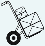 Shopping cardboard box on sack truck Royalty Free Stock Photo