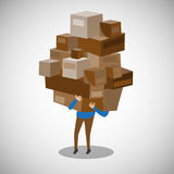 Shopping while carrying box and stuff  illustration Royalty Free Stock Photography