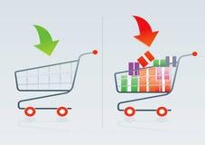 Shopping cart 1. Shopping cart vector drawing 1 Royalty Free Stock Photography