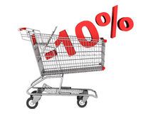 Shopping cart with 10 percent discount isolated on white. Background Stock Image