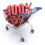 Shopping Cart (100% OFF). Shopping cart full of percentage. Concept of discount Royalty Free Stock Photography