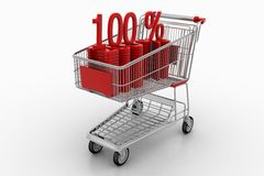 Shopping Cart With 100 Percentage Royalty Free Stock Image