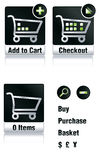 Shopping cart. Set of icons depicted full and empty basket Stock Photo