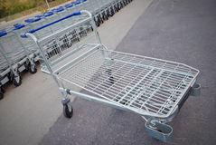 Shopping cart. Big group of shopping carts in a row Stock Images