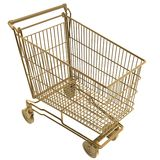 Shopping cart. 3d golden shopping cart isolated Stock Image