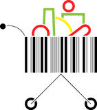 Shopping Cart. Abstract  illustration of a shopping cart made up of a bar code pattern Royalty Free Stock Images