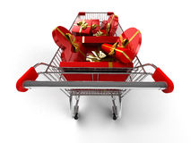 Shopping cart. Isolated on white Royalty Free Stock Images