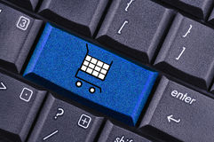 Shopping cart. Key on the computer keyboard Stock Image